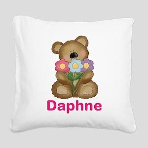 Daphne's Bouquet Bear Square Canvas Pillow