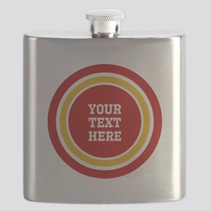 Red and Gold School Colors or Team Stripes t Flask