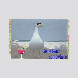Beach seagull Rectangle Magnet