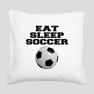 Eat Sleep Soccer Square Canvas Pillow