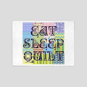 Eat Sleep Quilt 5'x7'Area Rug