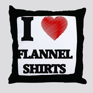 I love Flannel Shirts Throw Pillow