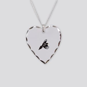 Flying Magpie Necklace Heart Charm