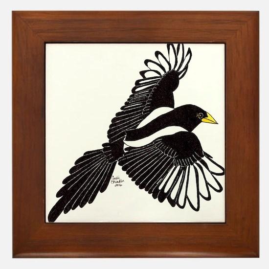 Flying Magpie Framed Tile