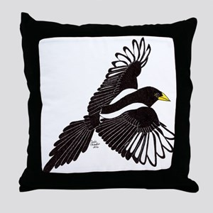 Flying Magpie Throw Pillow