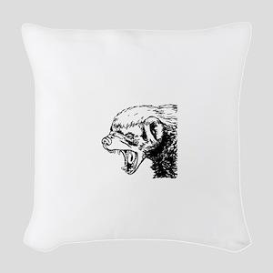 Honey Badger Scream Woven Throw Pillow
