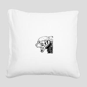 Honey Badger Scream Square Canvas Pillow