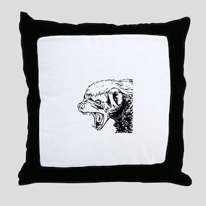 Honey Badger Scream Throw Pillow