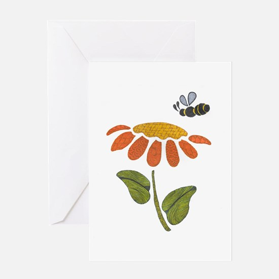 Bee Flower Greeting Cards