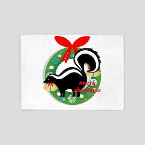 merry christmas skunk 5'x7'Area Rug