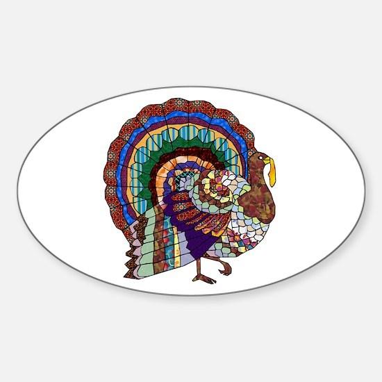 Thanksgiving Turkey Art Sticker (Oval)