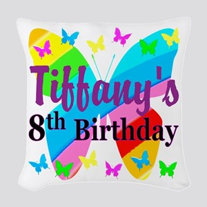 HAPPY 8TH Woven Throw Pillow
