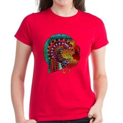 Thanksgiving Jeweled Turkey Women's Dark T-Shirt