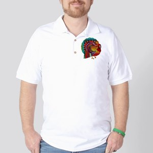 Thanksgiving Jeweled Turkey Golf Shirt