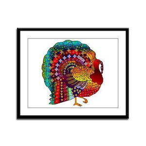 Thanksgiving Jeweled Turkey Framed Panel Print
