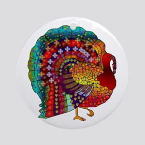Thanksgiving Jeweled Turkey Ornament (Round)