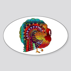 Thanksgiving Jeweled Turkey Sticker (Oval)