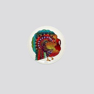 Thanksgiving Jeweled Turkey Mini Button
