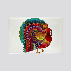 Thanksgiving Jeweled Turkey Rectangle Magnet