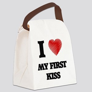I love My First Kiss Canvas Lunch Bag