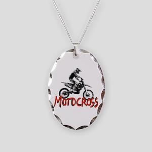 Motocross Necklace Oval Charm