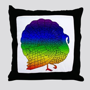 Rainbow Thanksgiving Turkey Throw Pillow
