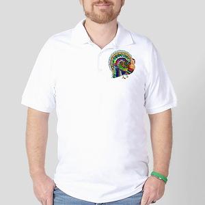 Patchwork Thanksgiving Turkey Golf Shirt
