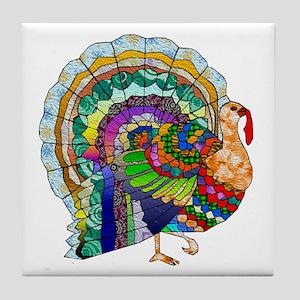 Patchwork Thanksgiving Turkey Tile Coaster