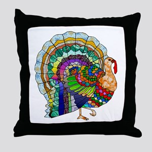 Patchwork Thanksgiving Turkey Throw Pillow
