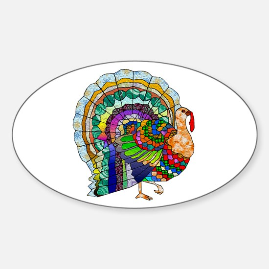 Patchwork Thanksgiving Turkey Sticker (Oval)