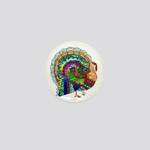 Patchwork Thanksgiving Turkey Mini Button