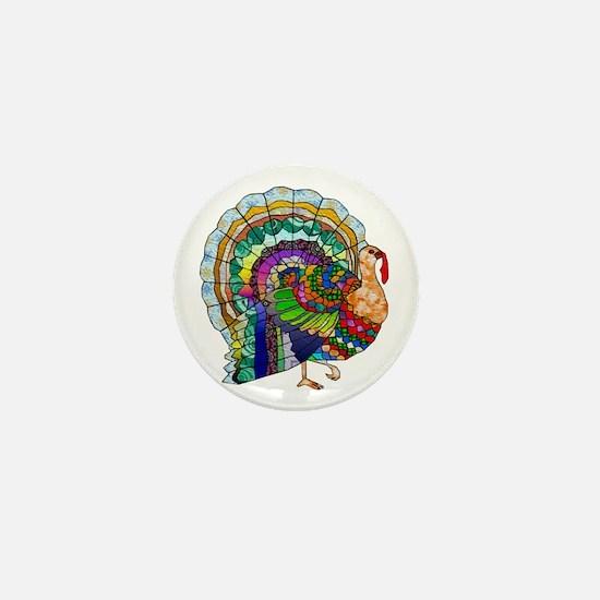 Patchwork Thanksgiving Turkey Mini Button (100 pac