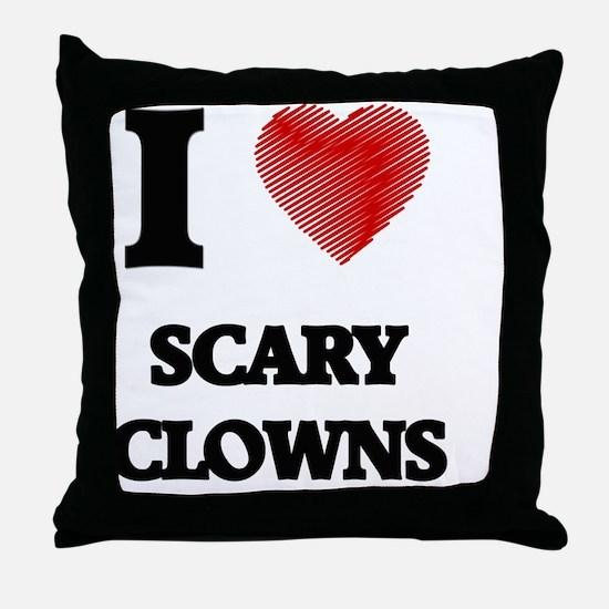 I love Scary Clowns Throw Pillow