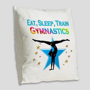 GYMNAST STAR Burlap Throw Pillow