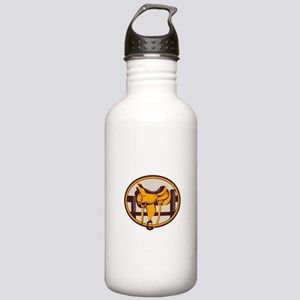 Western Saddle Fence Oval Retro Water Bottle
