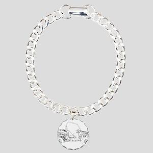 Side X Side Drawing Charm Bracelet, One Charm