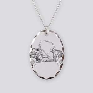 Side X Side Drawing Necklace Oval Charm