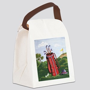Red Golf Bag and Purple Hat Canvas Lunch Bag