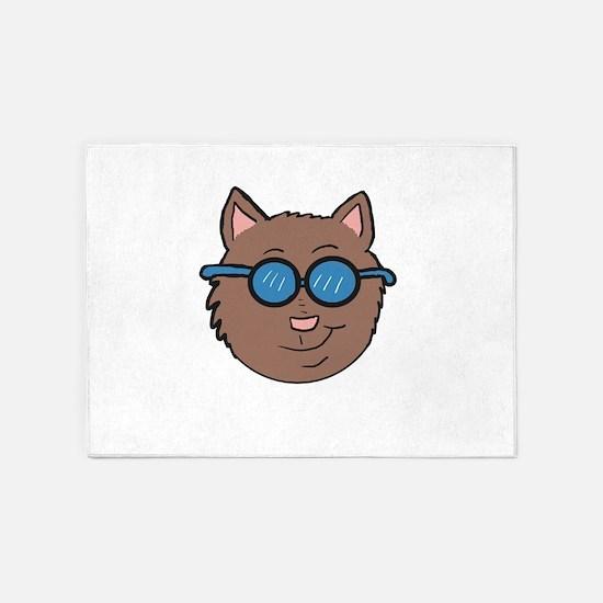 Cool cat head 5'x7'Area Rug