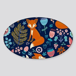Cute Red Foxes & Colorful Retro Flowers Pa Sticker