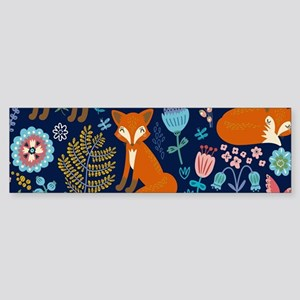 Cute Red Foxes & Colorful Retro Flo Bumper Sticker