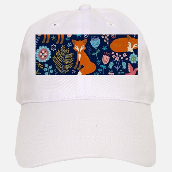 Cute Red Foxes & Colorful Retro Flowers Patter Baseball Baseball Cap