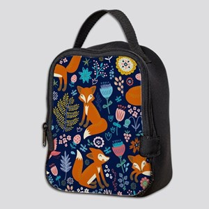 Cute Red Foxes & Colorful Retro Neoprene Lunch Bag