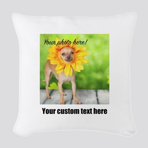 Custom Photo And Text Woven Throw Pillow