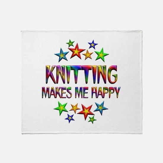 Knitting Happy Throw Blanket