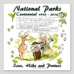 "National Parks Centennial Square Car Magnet 3"" x 3"