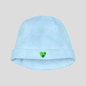 Green tye dye heart baby hat