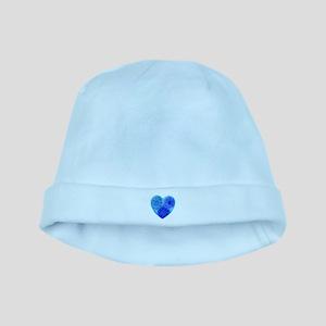 Blue tye dye heart baby hat