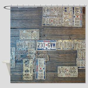 Rustic Wood Texas Car Tag Shower Curtain