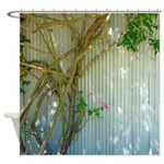 Rustic Tin And Pink Roses Shower Curtain